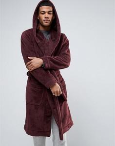 Флисовый халат с капюшоном ASOS - Красный