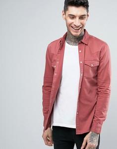 Розовая приталенная джинсовая рубашка в стиле вестерн ASOS - Stone