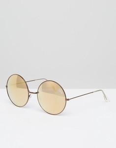 Круглые солнцезащитные очки с зеркальными стеклами Quay Australia - Медный