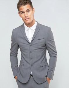 Серый супероблегающий пиджак на четырех пуговицах ASOS - Серый