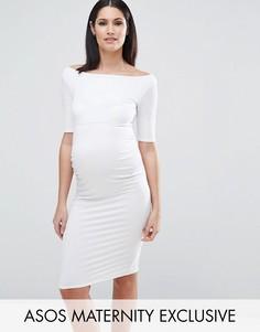 Платье с открытыми плечами для беременных ASOS Maternity - Белый