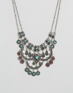 Броское ожерелье с камнями DesignB - Серебряный