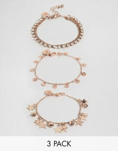 Набор из 3 браслетов со звездами и монетами Ashiana - Золотой