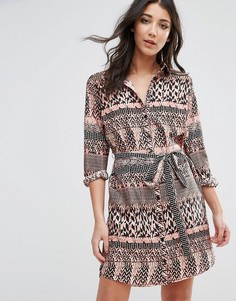 Платье-рубашка с принтом листьев AX Paris - Мульти