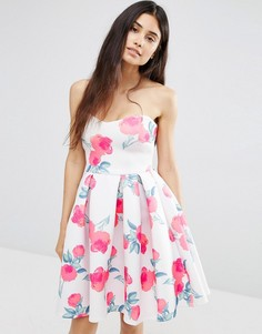 Платье с вырезом сердечком и цветочным принтом Oh My Love - Мульти