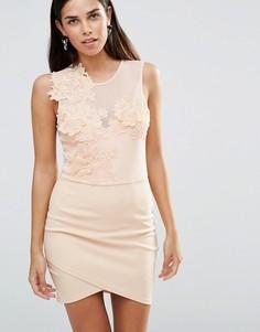 Облегающее платье с цветочным принтом и сеточкой Girl In Mind Aria - Розовый