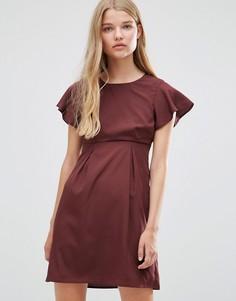 Платье шоколадного цвета с оборками Vero Moda Emma - Коричневый