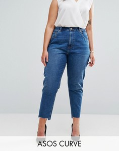 Джинсы в винтажном стиле с разрезами и асимметричными краями ASOS CURVE Original - Синий
