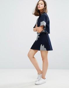 Джинсовая юбка с нашивками Waven Ina - Синий