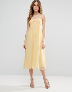 Платье миди с лифом-бандо Vila - Желтый