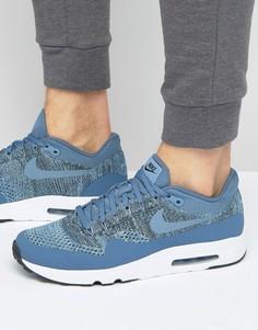 Голубые кроссовки с вязаным верхом Nike Air Max 1 Ultra 2.0 Flyknit 875942-400 - Синий