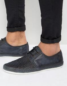 Кожаные плетеные туфли дерби Base London Tent - Темно-синий
