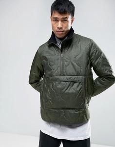 Стеганая куртка-ветровка хаки с воротником борг ASOS - Зеленый