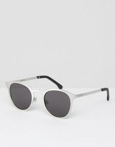 Круглые серебристые солнцезащитные очки Komono Hollis - Серебряный