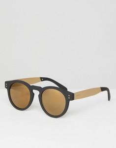 Черно-золотистые круглые солнцезащитные очки Komono Clement - Черный