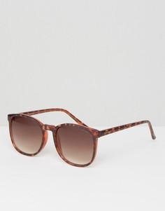 Солнцезащитные очки в круглой черепаховой оправе Komono Urkel - Коричневый