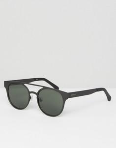 Круглые солнцезащитные очки с двойной переносицей черного цвета Komono Finley - Черный