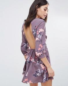 Платье мини с длинными рукавами и пуговицами Oh My Love - Мульти