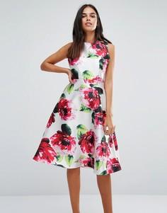 Приталенное платье миди с цветочным принтом AX Paris - Кремовый