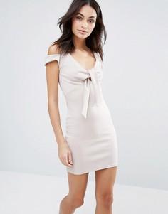 Платье мини с бантом спереди Oh My Love - Розовый