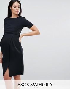 Двухслойное фактурное платье в строгом стиле ASOS Maternity - Черный