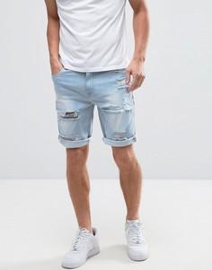 Голубые джинсовые шорты скинни с рваной отделкой ASOS - Синий
