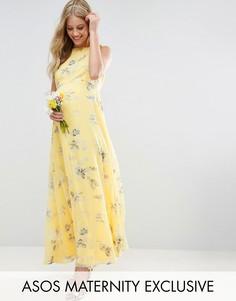 Платье макси с цветочным принтом ASOS Maternity WEDDING - Желтый