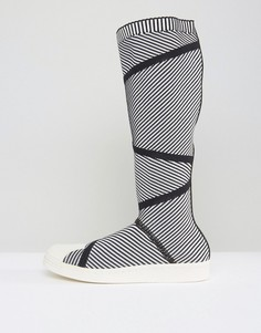 Высокие кроссовки из премиум-трикотажа в стиле 80-х adidas Originals Superstar - Белый