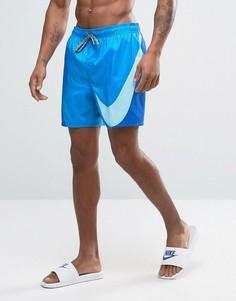Синие шорты для плавания с большим логотипом Nike Breach - Синий