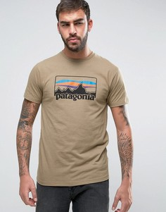 Меланжевая футболка цвета хаки с логотипом Patagonia 73 - Бежевый