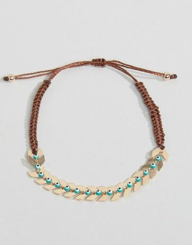 Нейлоновый браслет с шевронным дизайном и тканевой завязкой - Золотой