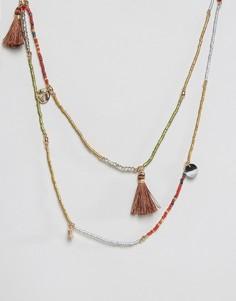 Ярусное ожерелье с кисточками Nylon - Серый