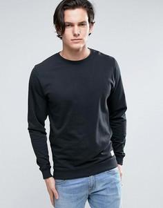 Черный свитшот с круглым вырезом Solid - Черный