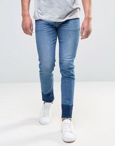 Синие укороченные джинсы скинни с нашивками и необработанными краями ASOS - Синий
