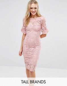 Кружевное платье-футляр со спущенными плечами Paper Dolls Tall - Розовый