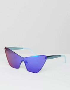 Солнцезащитные очки с синими зеркальными стеклами House of Holland Mossy - Синий