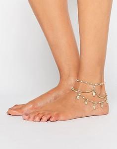 Браслет на ногу с искусственным жемчугом и подвесками ASOS - Кремовый