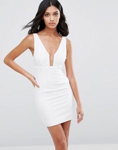Платье-футляр с глубоким V-образным вырезом Rare - Белый
