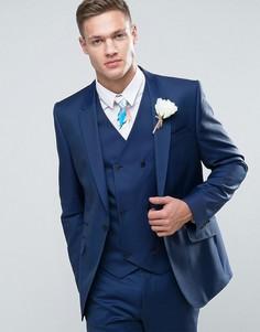 Узкий синий пиджак из 100% шерсти ASOS WEDDING - Синий