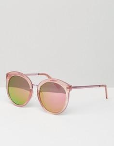 Большие круглые солнцезащитные очки в стиле преппи ASOS - Розовый
