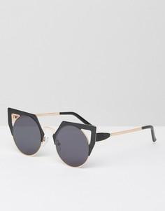 Солнцезащитные очки кошачий глаз в металлической оправе ASOS - Черный