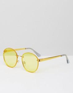 Круглые солнцезащитные очки с желтыми стеклами ASOS - Желтый