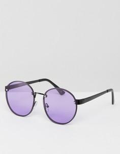 Круглые солнцезащитные очки в стиле 90-х с сиреневыми стеклами ASOS - Фиолетовый