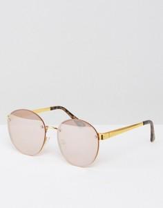 Круглые солнцезащитные очки с зеркальными стеклами ASOS - Золотой