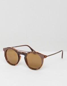 Круглые солнцезащитные очки в стиле 90-х с зеркальными стеклами ASOS - Коричневый