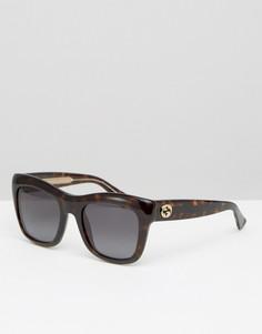Солнцезащитные очки в квадратной оправе Gucci - Коричневый