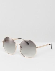Солнцезащитные очки в шестиугольной оправе ASOS - Золотой