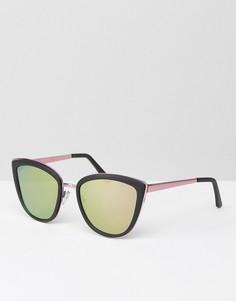 Солнцезащитные очки кошачий глаз с розовыми стеклами ASOS - Черный