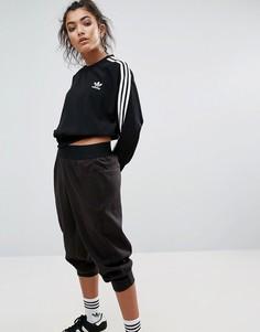 Черный шифоновый укороченный свитшот с тремя полосками adidas Originals - Черный