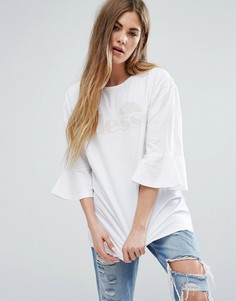 Oversize-футболка с оборками на рукавах и однотонным логотипом Ellesse - Белый